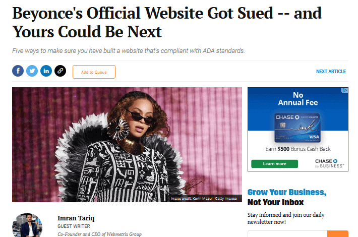 beyonce's website targeted lawsuits ada compliance