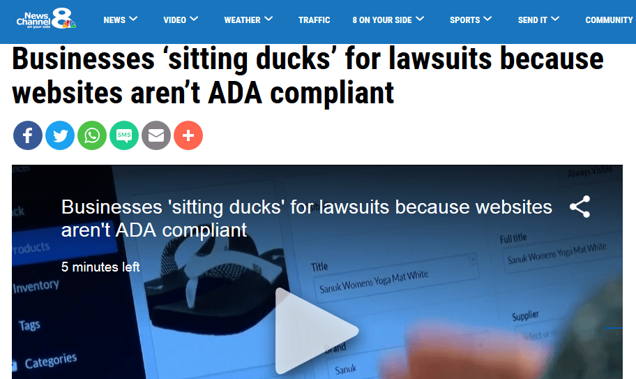 news channel 8 targeted lawsuits ada compliance